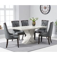 Aaron 160cm White Marble Dining Table With Angelica Dining Chairs