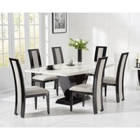 Verbier 200cm White V Pedestal Marble Dining Table with Raphael Chairs