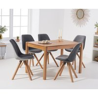Product photograph showing Oxford 120cm Solid Oak Dining Table With Oscar Velvet Chairs - Grey 4 Chairs