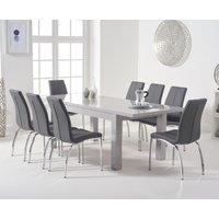 Atlanta Light Grey Gloss 160-220cm Extending Dining Table with Cavello Chairs - Black, 4 Chairs