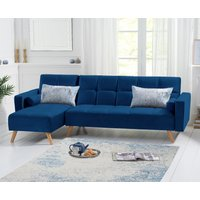 Ana Blue Velvet 3 Seater Corner Sofa Bed with Left Facing Chaise
