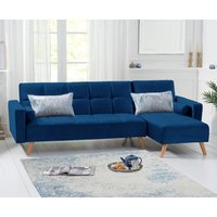 Ana Sofa Bed Right Facing Chaise in Blue Velvet