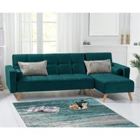 Ana Sofa Bed Right Facing Chaise in Green Velvet