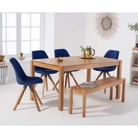 Oxford 150cm Solid Oak Dining Table with Oscar Velvet Chairs and Bench - Grey, 2 Chairs