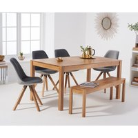 Product photograph showing Oxford 150cm Solid Oak Dining Table With Oscar Velvet Chairs And Bench - Grey 2 Chairs