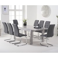 Atlanta Light Grey Gloss 160-220cm Extending Dining Table with Lorin Chairs - Black, 4 Chairs
