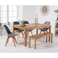 Oxford 150cm Solid Oak Dining Table with Duke Velvet Chairs and Bench - Grey, 2 Chairs