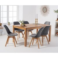 Product photograph showing Oxford 150cm Solid Oak Dining Table With Oscar Velvet Chairs - Grey 6 Chairs