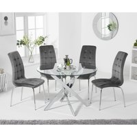 Denver 110cm Glass Dining Table with Calgary Velvet Chairs - Grey, 4 Chairs