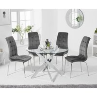Denver 120cm Glass Dining Table with Calgary Velvet Chairs - Blue, 4 Chairs