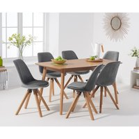 Product photograph showing Nordic 150cm Oak Dining Table With Oscar Velvet Chairs - Grey 4 Chairs