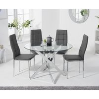 Denver 110cm Glass Dining Table with Catalina Chairs - Grey, 4 Chairs