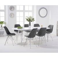 Olivia Extending White High Gloss Dining Table with Celine Velvet Chrome Leg Chairs - Grey, 4 Chairs