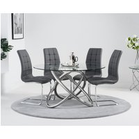 Read more about Diana 135cm round glass dining table with lorin chairs - grey- 4 chairs