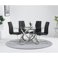 Diana 135cm Round Glass Dining Table with Tarin Chairs - Grey, 4 Chairs