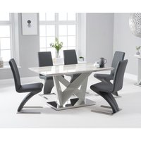 Reims 150cm Marble Effect Carrera Light Grey Dining Table With Hampstead Dining Chairs