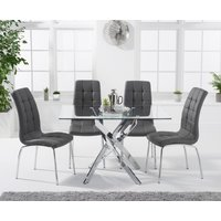 Product photograph showing Denver 120cm Rectangular Glass Dining Table With Calgary Chairs - Grey 4 Chairs