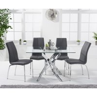 Denver 120cm Rectangular Glass Dining Table with Cavello Chairs - Cream, 4 Chairs