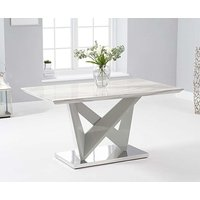 Product photograph showing Ex-display Reims 150cm Marble Effect Carrera Light Grey Dining Table