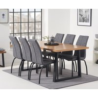 Urban 180cm Industrial Dining Table with Noir Antique Dining Chairs - Grey, 6 Chairs
