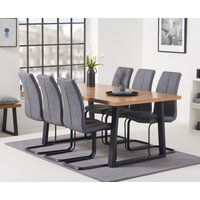 Urban 180cm Dining Table with Liza Antique Dining Chairs - Grey, 6 Chairs