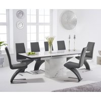 Metropolis 160cm Extending White Marble Dining Table with Hampstead Faux Leather Chairs - Grey, 4 Chairs