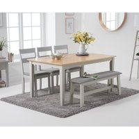 Product photograph showing Chiltern 150cm Oak And Grey Table With 2 Chiltern Chairs With Grey Fabric Seats And 1 Bench