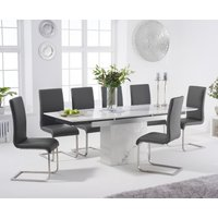 Metropolis 160cm Extending White Marble Dining Table with Malaga Faux Leather Chairs - Black, 4 Chairs