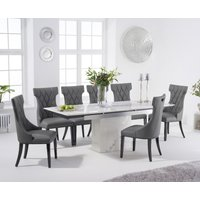 Metropolis 160cm Extending White Marble Dining Table with Freya Chairs - Grey, 4 Chairs