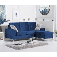 Product photograph showing Warren Blue Velvet Reversible 3 Seater Corner Chaise Sofa