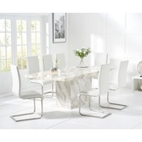 Calacatta 220cm Marble-Effect Dining Table with Malaga Chairs