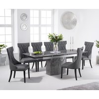 Metropolis 160cm Extending Grey Marble Dining Table with Freya Chairs - Grey, 4 Chairs