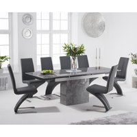 Metropolis 160cm Extending Grey Marble Dining Table with Hampstead Faux Leather Chairs - Ivory, 4 Chairs