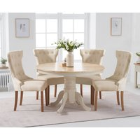 Epsom 120cm Cream Round Pedestal Table with Camille Fabric Chairs - Cream, 4 Chairs