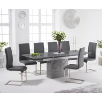 Metropolis 160cm Extending Grey Marble Dining Table with Malaga Faux Leather Chairs - Ivory, 4 Chairs