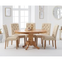 Epsom Pedestal Extending Dining Table with Claudia Fabric Chairs - Cream, 4 Chairs