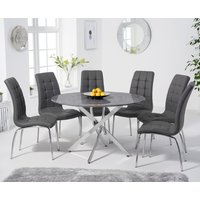 Carter 120cm Round Grey Marble Table with Calgary Chairs - Grey, 4 Chairs