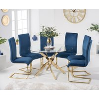 Product photograph showing Denver 120cm Gold Leg Glass Dining Table With Malaga Velvet Chairs - Blue 4 Chairs
