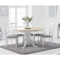 Epsom Oak and White Round Pedestal Extending Table with Epsom Chairs with Grey Fabric Seats - Oak and White, 4 Chairs