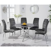 Carter 120cm Round Grey Marble Table with Calgary Velvet Chairs - Blue, 4 Chairs