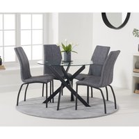 Mara 100cm Round Glass Dining Table with Antique Noir Chairs - Grey, 4 Chairs