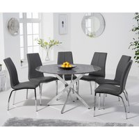 Carter 120cm Round Grey Marble Table with Cavello Chairs - Black, 4 Chairs