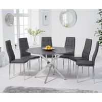 Carter 120cm Round Grey Marble Table with Catalina Chairs - Grey, 4 Chairs