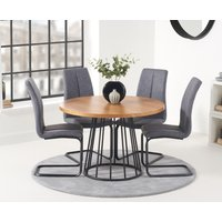 Hoxton 110cm Round Industrial Dining Table and Liza Antique Hoop Leg Chairs - Grey, 2 Chairs