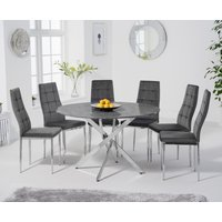 Carter 120cm Round Grey Marble Table with Melissa Chairs - Grey, 4 Chairs