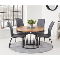 Hoxton 110cm Round Dining Table and Noir Antique Chairs - Grey, 2 Chairs