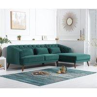 Product photograph showing Delilah Green Velvet Right Hand Facing Corner Sofa