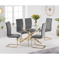 Product photograph showing Denver 120cm Rectangular Gold Leg Glass Dining Table With Malaga Velvet Chairs - Blue 4 Chairs