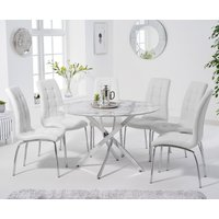 Carter 120cm Round White Marble Table with Calgary Chairs - Grey, 4 Chairs