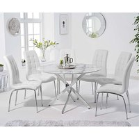 Ex-display Carter 120cm Round White Marble Table with 4 GREY Calgary Chairs